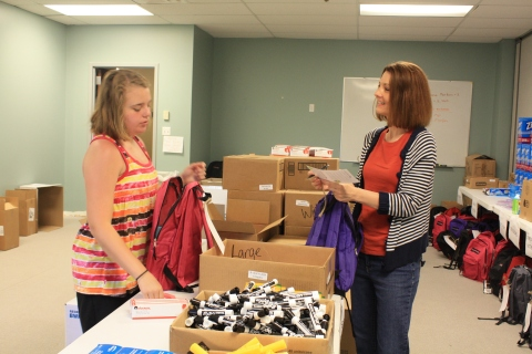 Northview prepares backpacks for IPS 54 (photo by Drake D'Ambra)